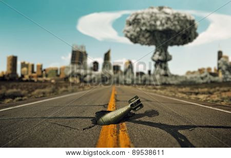 Bomb On The Road. Background A Nuclear Explosion.