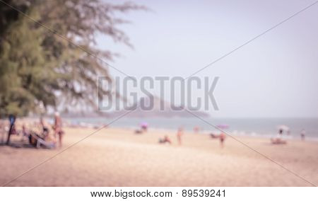 Abstract Background Of People On The Beach In Vintage Effect