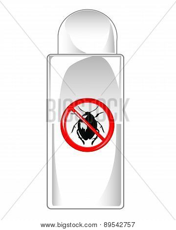 Vial repellent on white background is insulated poster