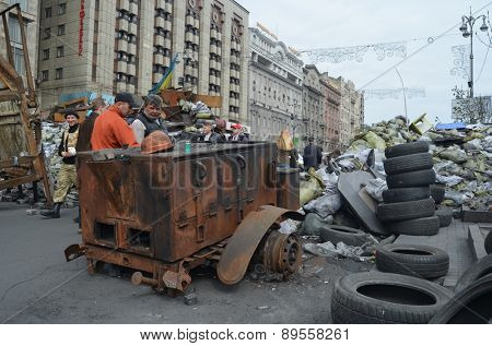 KIEV, UKRAINE - APR 7, 2014: Mass destruction after Putsch of Junta in Kiev,suppurted by USA and EU. Kiev.April 7, 2014 Kiev, Ukraine