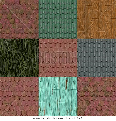 Set of Old Roof Seamless Generated Texture