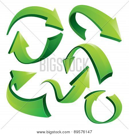 Green Curved 3D Arrows
