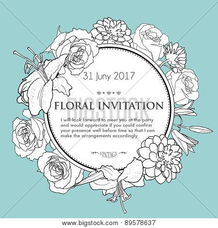 Foral Background For Wedding, Birthday, Invitation.