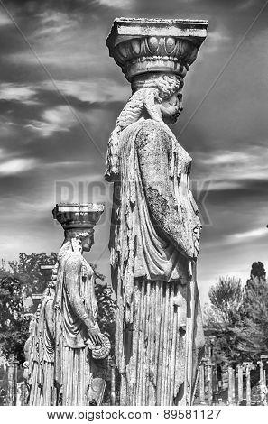 Statues Of The Caryatides At Villa Adriana (hadrian's Villa), Tivoli, Italy