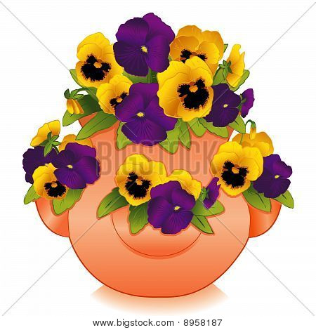Strawberry Jar & Pansies