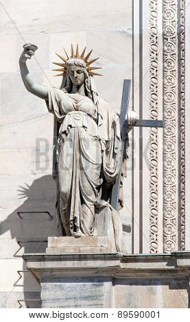Statue on the Milan Cathedral's facade representing the New Law carved by Camillo Pacetti in 1810 inspired Frederic Auguste Bartholdi for the construction of the Statue Of Liberty in NYC poster