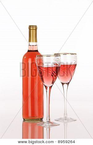 White Zinfandel Bottle With Two Luxury Wine Glasses