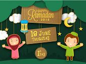 Holy month of Muslim community, Ramadan Kareem celebration with cute puppets celebrating first day of Ramadan on mosque silhouette background. poster