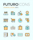 Line icons with flat design elements of market store goods retail shopping activity discount for products consumer items for selling. Modern infographic vector logo pictogram collection concept. poster
