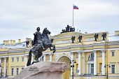 Monument of Russian emperor Peter the Great known as Statue of The Bronze Horseman Saint Petersburg Russia poster