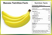 Clump of bananas with a nutrition label containing the nutrients in one banana poster