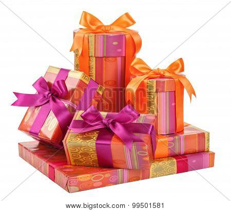 Fashionable Boxes With Gifts Isolated On White Background