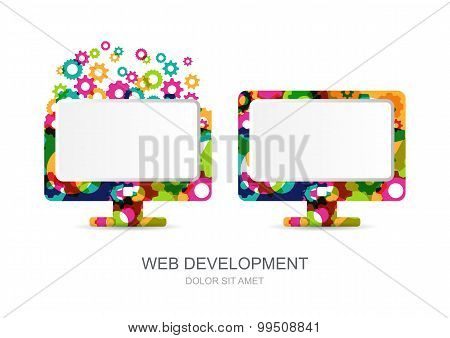 Vector Computer Monitor Icon Built From Colorful Gear Cogs. Abstract Logo Template.