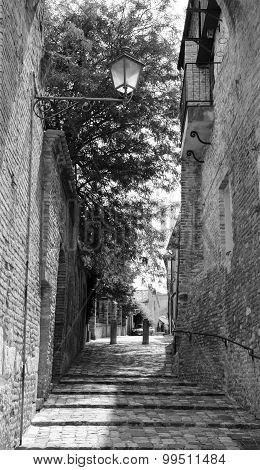 View of a alley in Rimini, Santarcangelo di Romagna poster