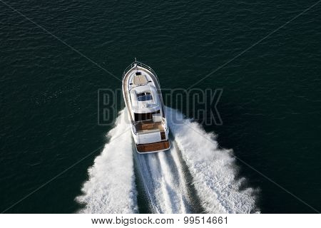 Elegant Yacht Sailing Though Deep Waters