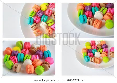Collection Close Up Colorful Macarons Dessert With Vintage Pastel Tones Made Dept Of Field.