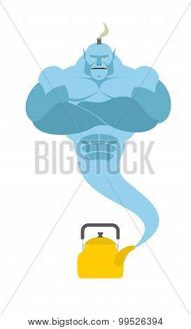 Genie From  Kettle. Blue Magic Spirit Fulfills Desires. Vector Illustration