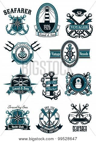 Vintage nautical badges with marine items