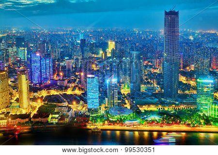 Shanghai, China - May 23, 2015:beautiful View Of  Shanghai -  Bund Or Waitan Waterfront At Night. Sh