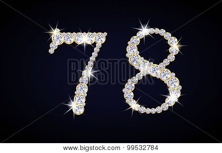 Number 7 And 8 Composed From Diamonds With Golden Frame. Complete Alphanumeric Set.