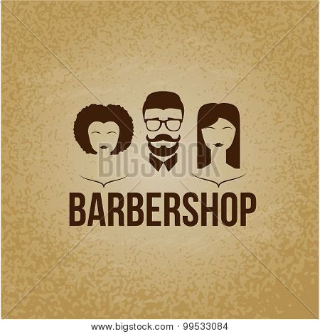 Design concept of the logo. Barbershop hairdresser. Permanent brazillian straightening, perming, hair coloring, cutting, styling , Mans and woman faces. Flat design. poster