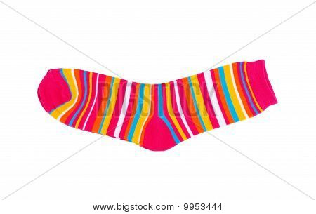Children's Striped Socks Isolated  White Background.