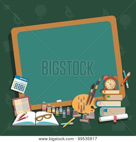 Education School Board Back To School Textbooks Notebooks Pencils Draw Learn Algebra Mathematics