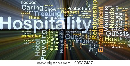 Background concept wordcloud illustration of hospitality glowing light