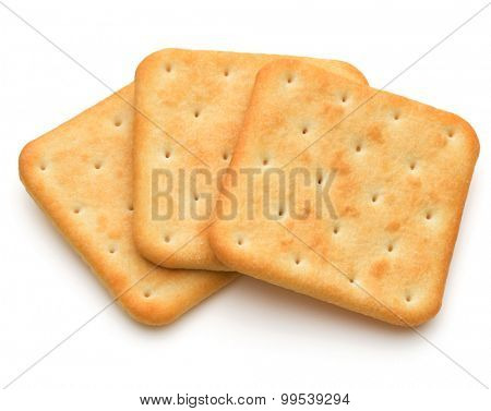 Dry cracker cookies isolated on white background cutout poster