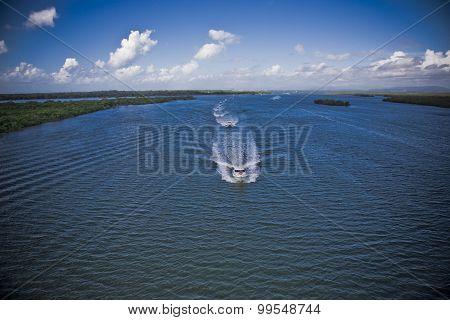 Two Motor Boats Navigating