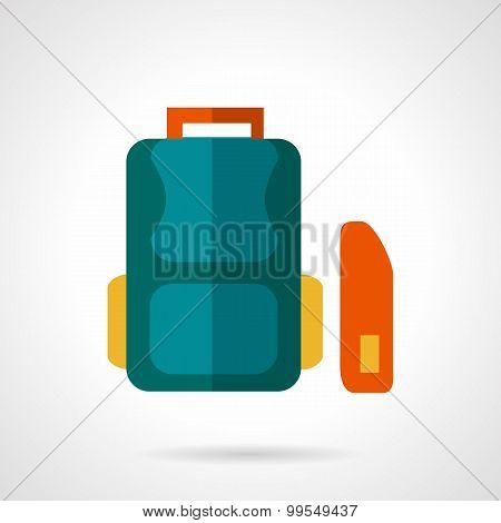 School bag flat vector icon