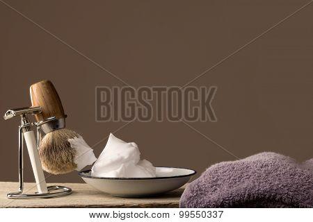 Vintage Shaving Equipment On Wooden Table