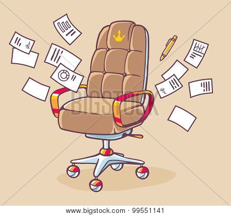 Vector Illustration Of Brown Office Armchair Of The Head With Lot Documents On Light Background.