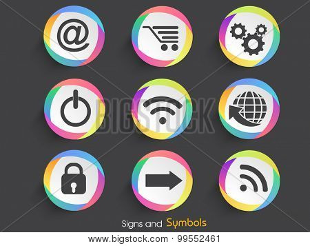 Set of various creative web signs and symbols on gray background.