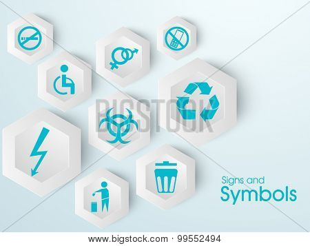 Set of various creative signs and symbols on shiny background.