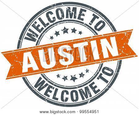 Welcome To Austin Orange Round Ribbon Stamp