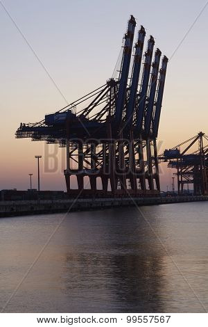 Hamburg Waltershof - Container Terminals In The Evening