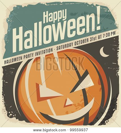 Retro poster template with Halloween pumpkin head