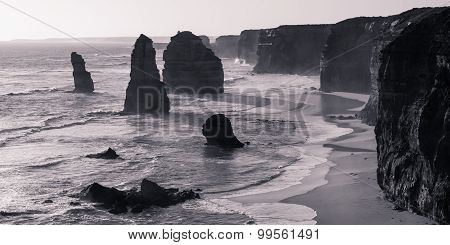 The Twelve Apostles in black and white