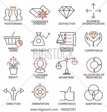 Set Linear Icons Of Business Management, Strategy, Career Progress - part 3