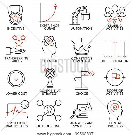 Set Linear Icons Of Business Management, Strategy, Career Progress - part 4
