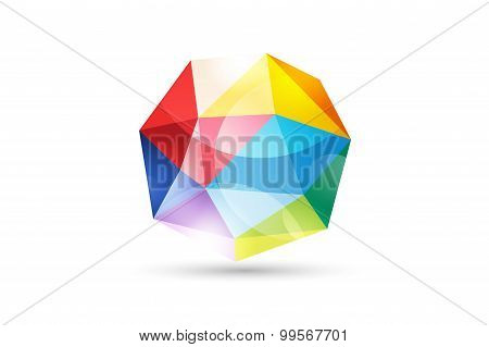 Abstract Tetrahedron  globe logo template