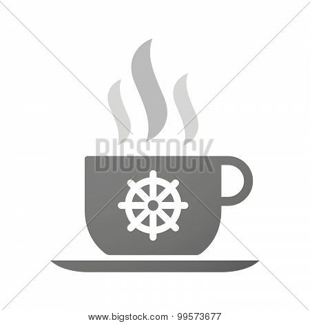 Cup Of Coffee Icon  With A Dharma Sign