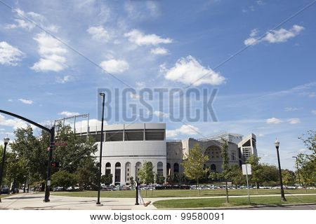 Ohio Stadium is the home of the Ohio State Buckeyes.  Built in 1922, it is shaped like a horseshoe and hence has the nickname