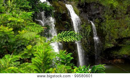Upper Waikani Falls Along The Road To Hana In Maui