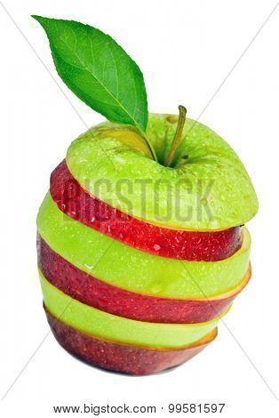Sliced and mixed green and red apple on isolated white background