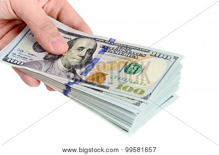 Image of hand holding 100 Dollar bills isolated on white