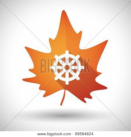 Autumn Leaf Icon With A Dharma Chakra Sign