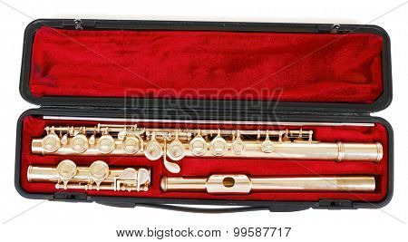 Flute in case isolated on white