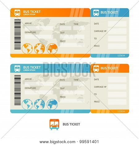 Bus ticket. Vector
